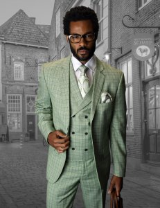"Statement ""Abano"" Sage Green / Blue / White Plaid Super 150's Wool Vested Modern Fit Suit"