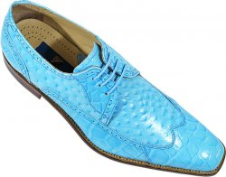 Giorgio Brutini Sky Blue Alligator / Ostrich Print Shoes 210103-1