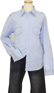 Manzini Baby Blue With White Stripes 100% Cotton Casual Shirt
