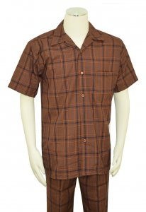 Pronti Brown / Navy Blue / Rust Plaid Design Short Sleeve Outfit SP6318