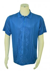 Pronti Royal Blue Knitted Microfiber Casual Short Sleeve Polo Shirt K6413