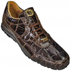 "David Eden ""Pirate"" Brown Genuine All-Over Alligator Casual Sneakers"