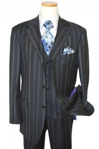 Extrema by Zanetti Navy/Silver Grey Stripes Super 120's Wool Vested Suit TQ42493