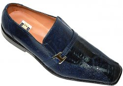 "David Eden ""Rawlins"" Navy Blue Genuine Crocodile/Lizard Shoes With Buckle On The Side"