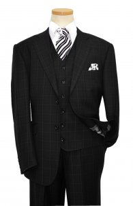 Statement Confidence Black With White Micro Windowpane Design Super 150's Wool Vested Suit TZ-812