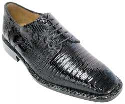 "Belvedere ""Olivo"" Black All-Over Genuine Lizard Shoes H14."