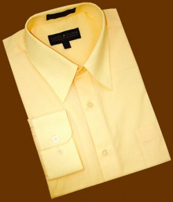 Daniel Ellissa Solid Canary Yellow Cotton Blend Dress Shirt With Convertible Cuffs DS3001