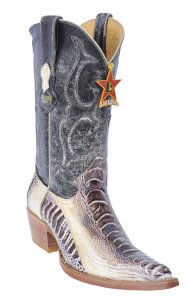 Los Altos Ladies Natural Genuine Ostrich Leg 3X-Toe Cowgirl Boots 350549
