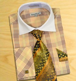 Daniel Ellissa Brown Checker Pattern Two Tone Shirt / Tie / Hanky Set With Free Cufflinks DS3766P2.