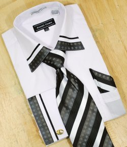 Avanti Uomo White / Black With Embroidered Design Shirt/Tie/Hanky Set DN41M