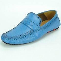 Fiesso Blue PU Leather Perforated Casual Loafer FI2323.
