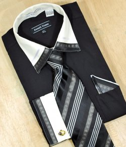 Avanti Uomo Black / Cream With Embroidered Design Shirt/Tie/Hanky Set DN41M