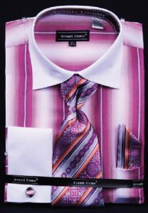 Avanti Uomo Fuchsia / White Pinstripes Design Shirt / Tie / Hanky Set With Free Cufflinks DN59M.