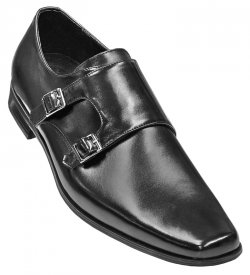 "Stacy Adams ""Broderick"" Black Leather Loafer Shoes With Double Monkstrap"