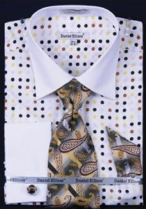 Daniel Ellissa White Brown Multi Polka Dot Shirt / Tie / Hanky Set With Free Cufflinks DS3769P2