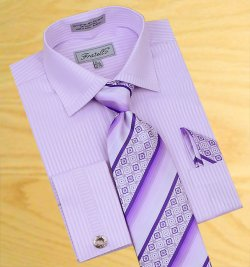 Fratello Lavender Shadow Stripes Shirt/Tie/Hanky Set With Free Cuff links FRV4112P2