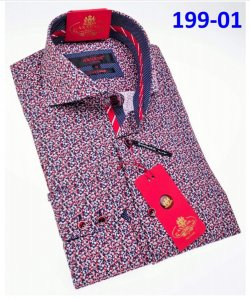 Axxess Classic Multi Color Modern Fit Cotton Dress Shirt With Button Cuff 199-01.