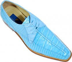 Giorgio Brutini Sky Blue Alligator / Lizard Print Shoes 210003-1