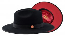 Bruno Capelo Black / Red Bottom Australian Wool Fedora Hat MO-200