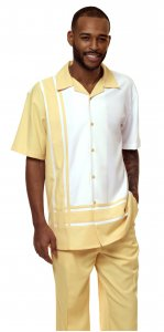 Montique Banana Yellow / White Sectional Design Short Sleeve Outfit 1877