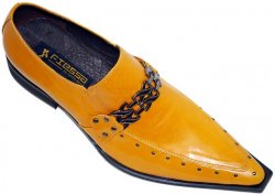 Fiesso Mustard/Gold Pointed Toe Leather Shoes With Metal Bracelet On Top And Metal Studs On Sides FI8096