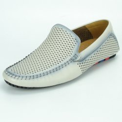 Fiesso Light Grey PU Leather Perforated Slip-on FI2324.