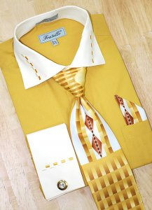 Fratello Mustard/Cream w/ Dash Design Shirt/Tie/Hanky Set DS3721P2