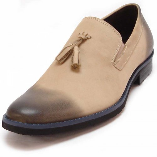 Encore By Fiesso Beige Genuine Leather Loafer Shoes FI6692