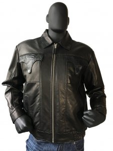 85ede24d3e3 G-Gator Black Leather Bomber Jacket With Alligator Pocket / Collar / Back  Trimming 2035. Sale