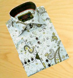 Axxess White With Sand Paisley Design 100% Cotton Dress Shirt 08-32