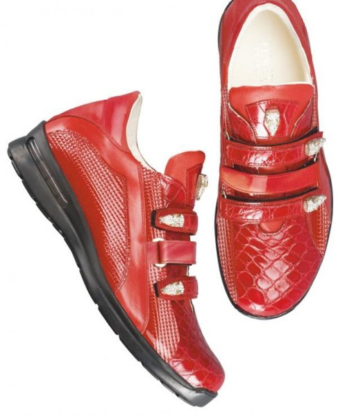 Fennix Italy 3107 Flame Red Genuine Alligator/Nappa/Diamond Calf Leather Sneakers With Three Swarovski Crystals Alligator Heads