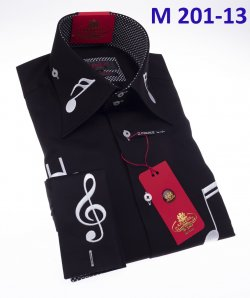 Axxess Black / White Music Note Embroidery Cotton Modern Fit Dress Shirt With French Cuff M201-13