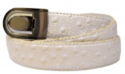 Giorgio Brutini Cream Ostrich Print Leather Belt GB-103