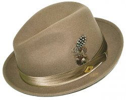 Stacy Adams Taupe 100% Wool Felt Fedora Dress Hat SAW566