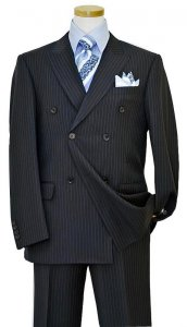 Bertolini Navy Blue With Sky Blue Pinstripes Wool & Silk Blend Super 140's Suit 68804