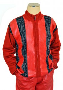 Bagazio Red / Black / Grey PU Leather Multi Design Zip-Up Sweater BM1655