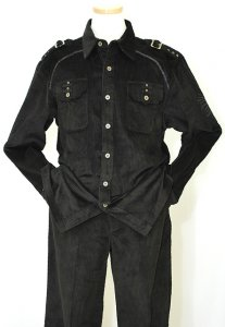 Prestige Black 2PC 100% Cotton Corduroy Outfit COR-106
