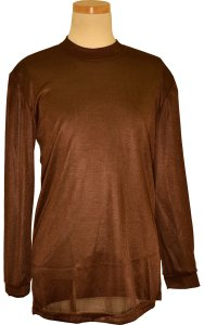 Pronti 15641 Chocolate Brown Tricot Dazzle 100% Polyester Long Sleeve Mock Neck Shirt