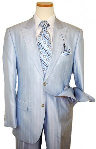Steve Harvey Classic Collection Sky Blue/White Pinstripes Super 120's Merino Silky Sharkskin Wool Suit 6436