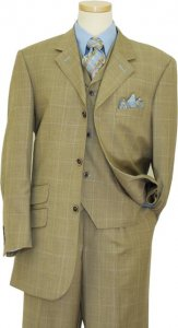 Tayion Platinum Collection Tan / Sky Blue Windowpanes With Sky Blue Hand-Pick Stitching Super 140'S Extra Fine Wool Vested Suit 2009.3202