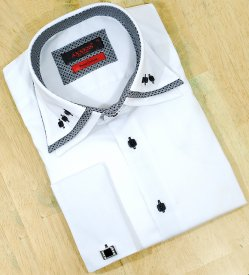 Axxess White / Black With Triple Layered Collar 100% Cotton Dress Shirt