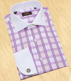 Steven Land White / Tan With Lavender/ Plum Windowpanes With Spread Collar / White French Cuffs 100% Cotton Dress Shirt DS1004