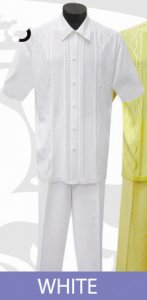 Silversilk White Button Front 2 PC Knitted Silk Blend Outfit #3065