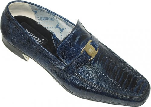 Mauri 3991 Wonder Blue Genuine All-Over Ostrich Hand Painted Shoes With Mauri Buckle