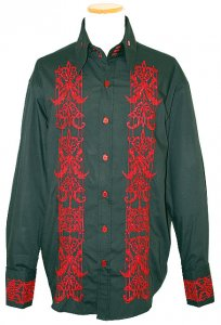 Manzini Black With Red Emroidered Design Button Down High Collar Long Sleeves 100% Cotton Shirt With French Cuffs MZ-86