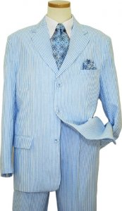 Successos 100% Cotton Sky Blue / White SeerSucker Suit BP3195-1