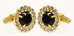 Fratello Gold Plated / Black Onyx Rhinestone Round Cufflink Set CL968B