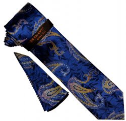 "Steven Land ""Big Knot"" BWR1752 Navy / Blue / Yellow / Silver Paisley Silk Necktie / Hanky Set"