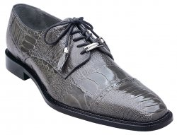 "Belvedere ""Batta"" Grey All-Over Genuine Ostrich Lace-Up Shoes 14006."