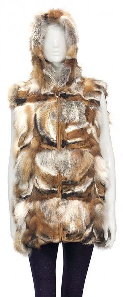 Winter Fur Ladies Red Fox 3/4 Vest With Hood W11V13NA